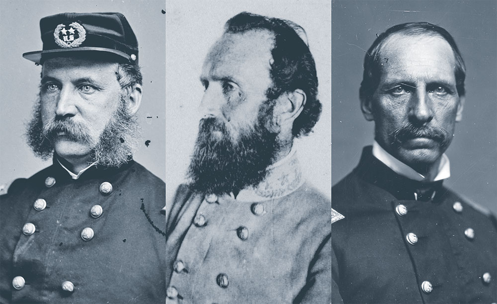 THREE GENERALS CONNECTED TO HARRY BURGWYN: John G. Foster, West Point tutor and future opponent in North Carolina; Thomas J. Jackson, an earlier admirer who provided him with a sterling reference; Solomon Meredith, a fellow Tar Heel who led Union forces against him at Gettysburg. Library of Congress.