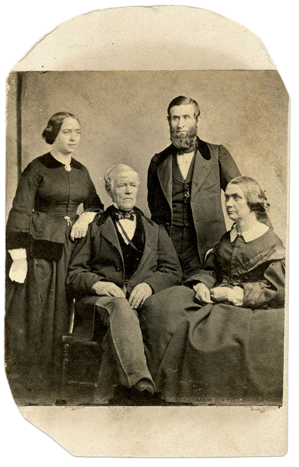 Ellen and her family: Ellen Cheney Johnson rests her arm on the shoulder of her father, Nathan. Husband Jesse stands behind his mother-in-law, Rhoda. Carte de visite by Seaver & Lothrop of Boston, Mass. Author's Collection.