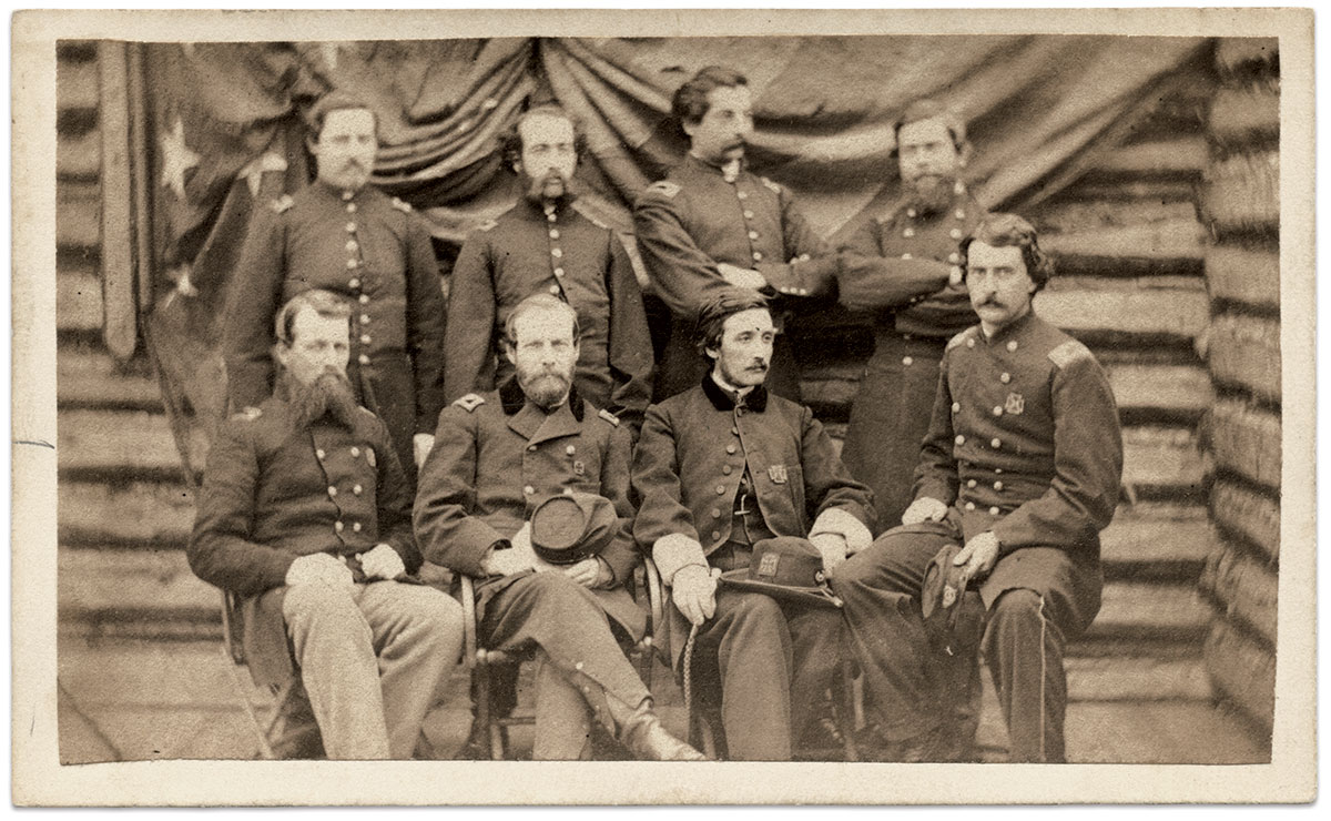 Chaplain Tyler sits third from left in this portrait with fellow staff officers taken in front of a building that may be the chapel. Standing, from left to right, Asst. Surgeon George Thomas Perkins, 1st Lt. and QM Harrison Augustus Royce, 1st Lt. Frederick Shepard Benson and Maj. Mason W. Burt. Seated, from left, Surgeon Isaac Holden Stearns, Col. William Stowell Tilton, Tyler and Lt. Col. Thomas Sherwin. Carte de visite by an anonymous photographer. The Medford Historical Society Photograph Collection, the Medford Historical Society & Museum, Medford, Mass.