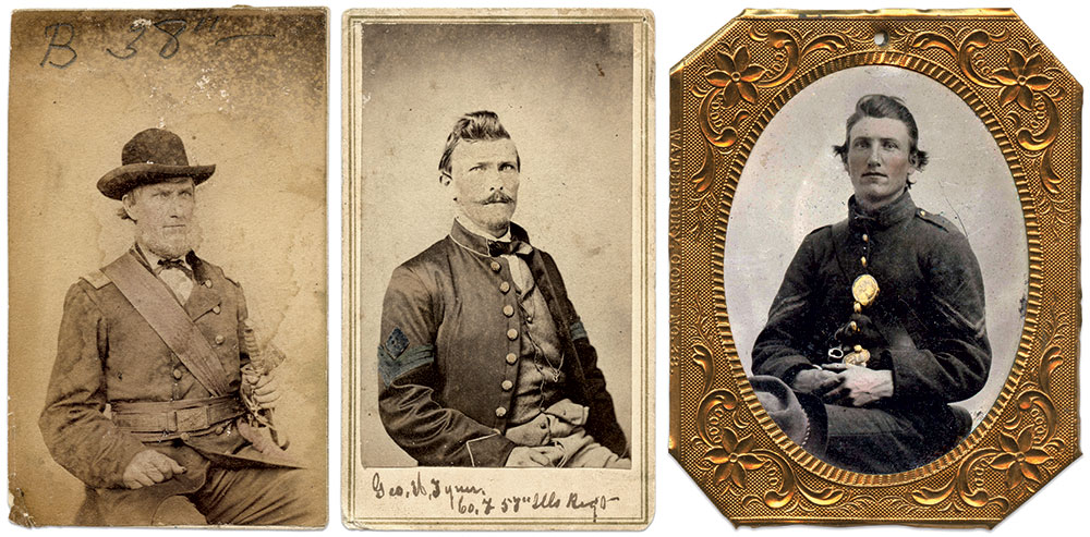 The Tyner men: Clockwise from the left: Ock Tyner's father, Maj. Harrison Tyner of the 38th and 143rd Illinois Infantries, and his older brothers, Sgt. George H. Tyner of the 57th Illinois Infantry and William Tyner, a corporal in his father's first company. Cartes de visite by anonymous photographers, Ninth-plate tintype by an anonymous photographer.
