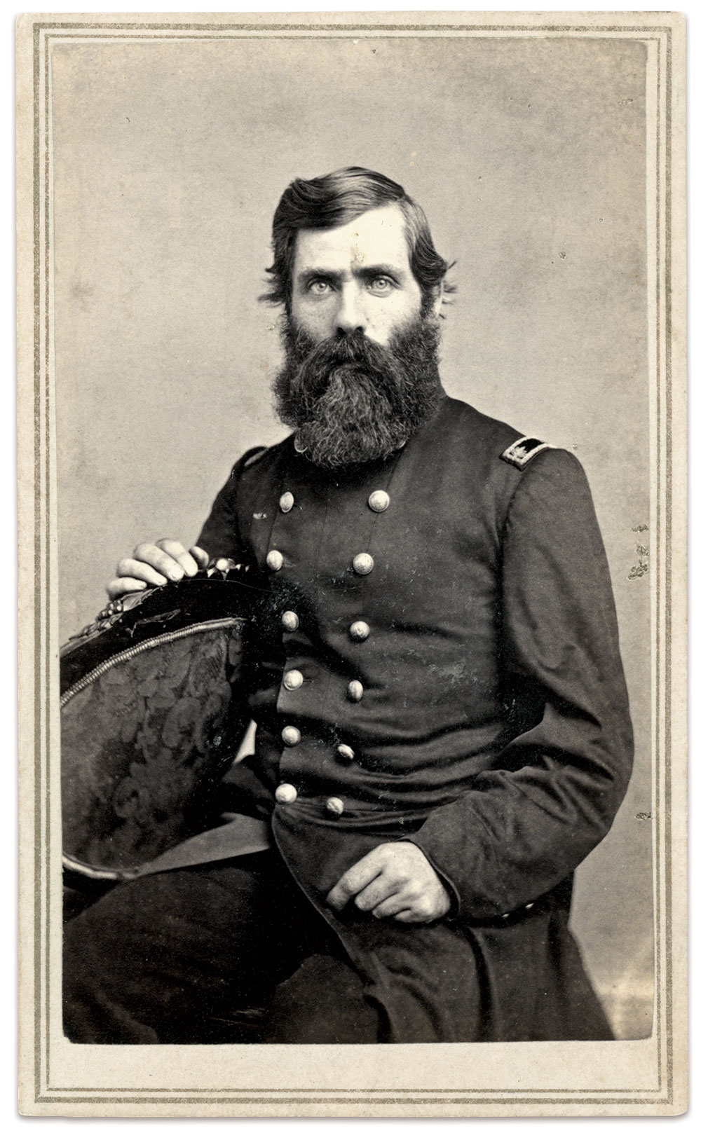 Unidentified Union field officer. Carte de visite by C. C. Rowell of Newport, N.H. Kurt Luther Collection.