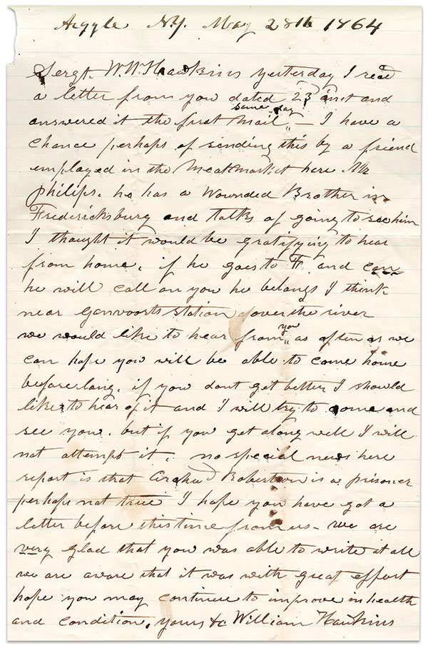 A WISH FOR THE SAFE RETURN is part of this letter written by William Hawkins, Sr., to his soldier son.