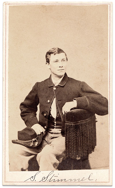 Smith Stimmel pictured as a private in the 7th Independent Company of Ohio Volunteer Cavalry. Carte de visite by John Goldin & Co. of Washington D.C. Author's collection.