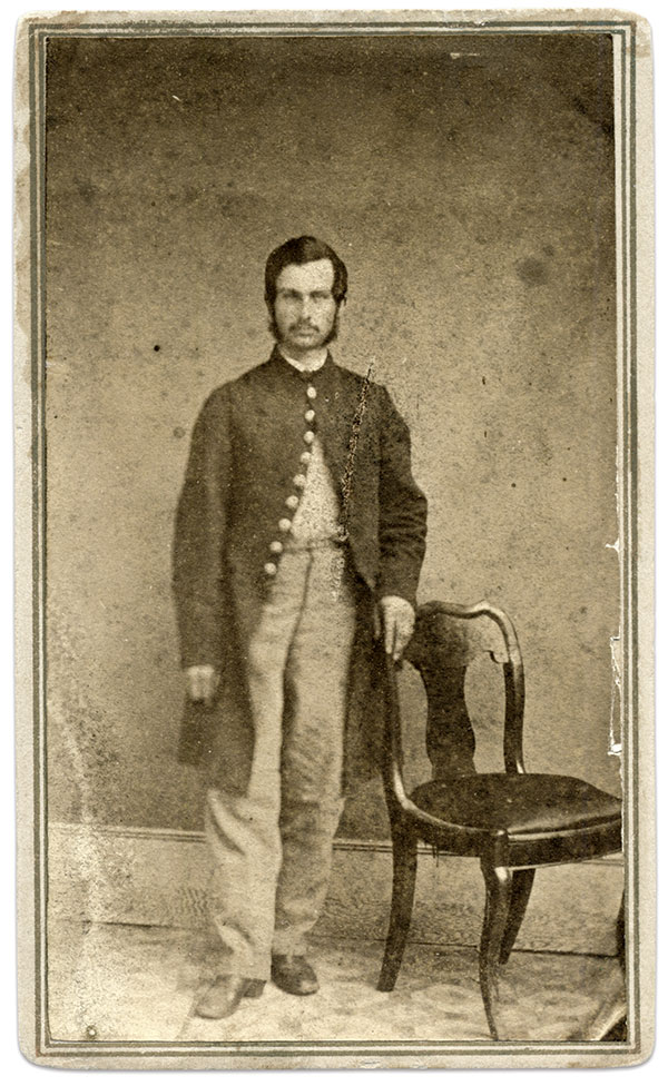 Archer, pictured before he received his sergeant's stripes. Carte de visite by an anonymous photographer. Formerly of the Scott Valentine Collection.