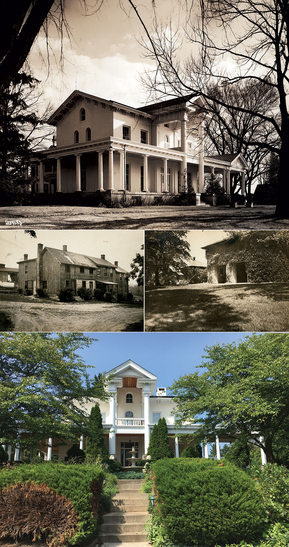 Views of Dumbarton. Old Noah deeded the estate to his eldest son, Patrick Henry Walker. Vintage views include the main residence, top, slave quarters, center left, and carriage house, center right. Dumbarton left the family in 1893. Below is the main residence today.