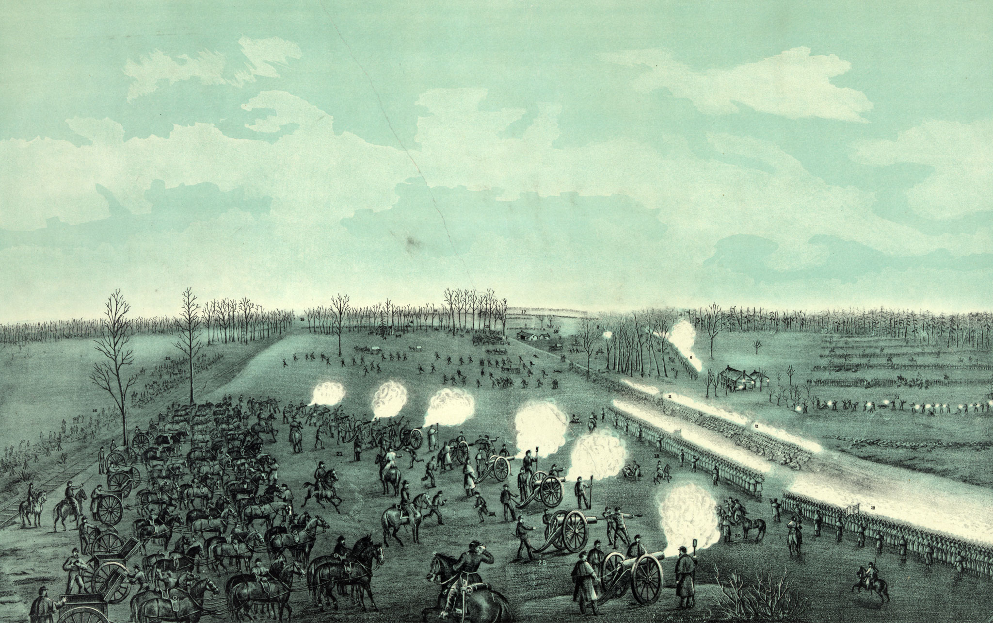 """""""Battle of Stone River of Murfreesboro,"""" by W.C. Reynolds. Library of Congress."""