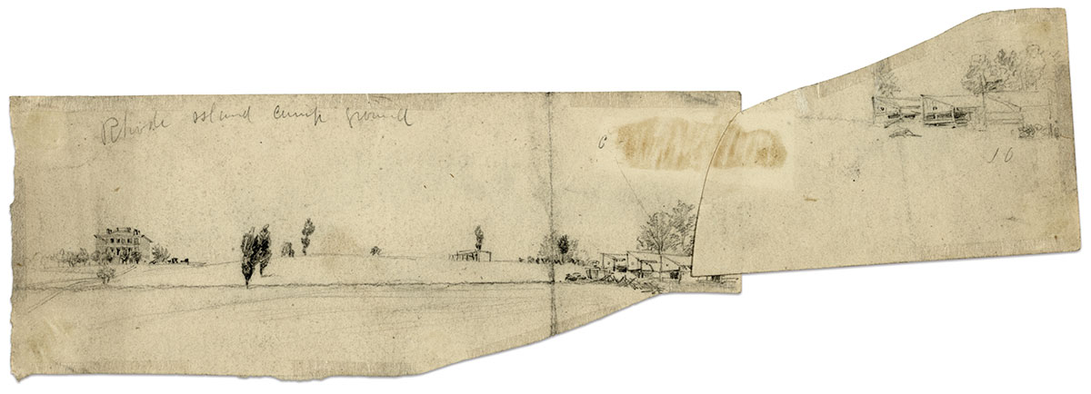 """Waud included the barracks on the right side of this """"Rhode Island camp ground"""" sketch. Library of Congress."""