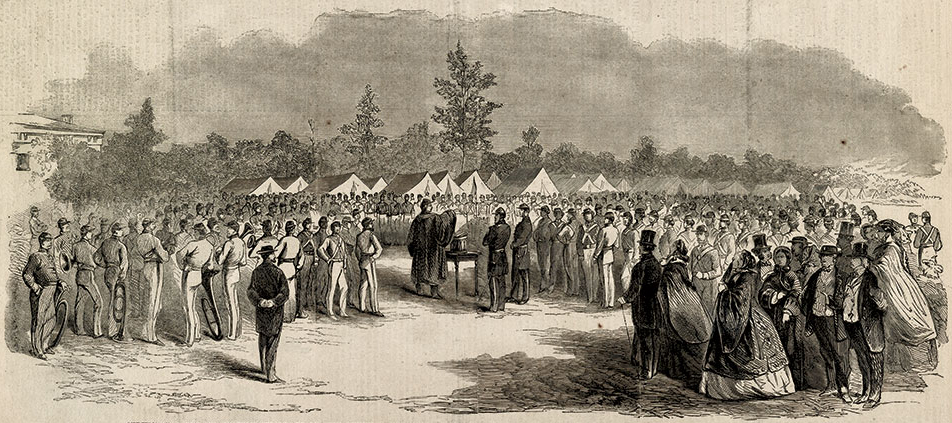 A week after his Capitol sermon, Weston preached to his regiment and others at Camp Cameron. Library of Congress.
