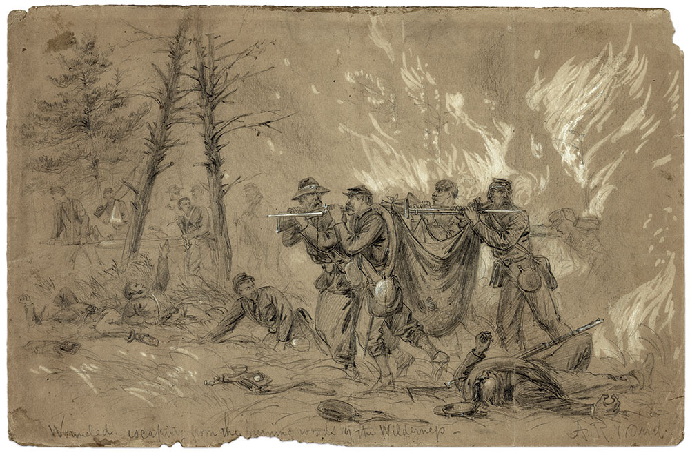 War artist Alfred R. Waud depicted this scene of wounded Union soldiers being rescued from the escaping burning woods in The Wilderness. The sketch was published as an engraving in the June 4, 1864, issue of Harper's Weekly magazine. Library of Congress.