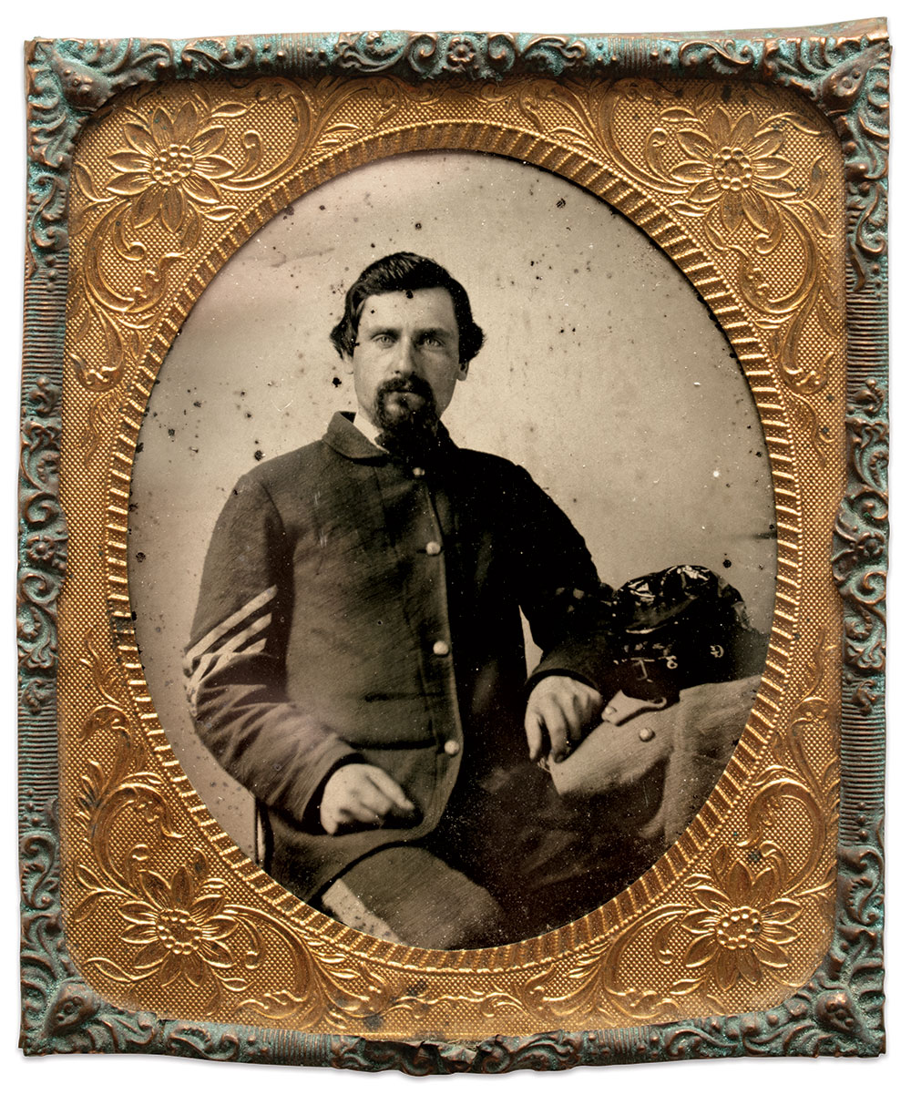 JOHN SANDFORD WILLIAMS is pictured in this ninth-plate ambrotype  as a sergeant in Company G of the 3rd Delaware Infantry, circa May to November 1864. This portrait is a cherished possession of his family, passed down since the Civil War. The image was professionally cleaned in 1986. Author's Collection.