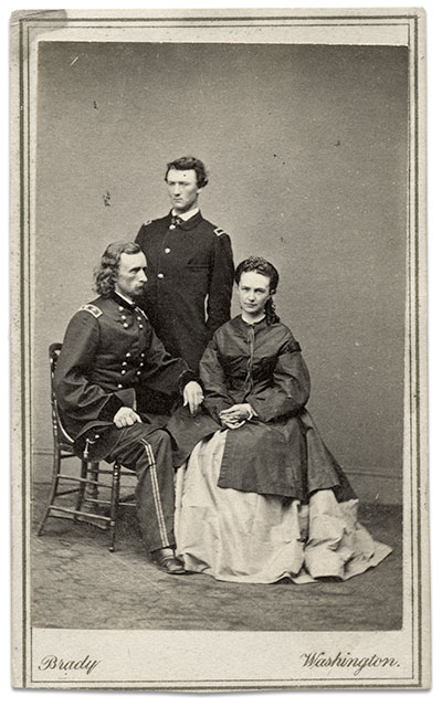 Carte de visite of George, his brother Tom, and Libby Custer by Mathew B. Brady of Washington, D.C., andNew York City. Steve Meadow collection.