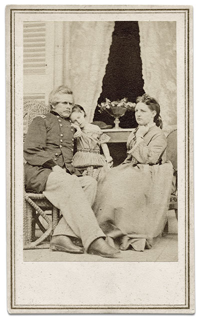 Carte de visite of the Ords and a daughter by Mathew B. Brady of New York City. The family is pictured in the Confederate White House with the surrender table from the McLean home at Appomattox Court House. Molly eventually sold the table, which is now at The Chicago Historical Society. Tom Glass collection.