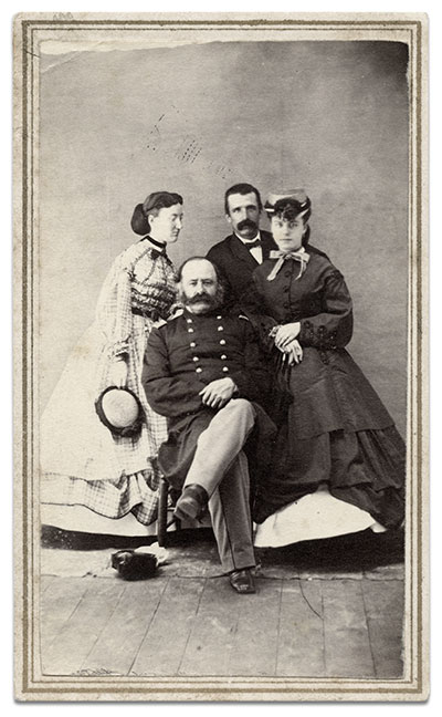 Carte de visite by an anonymous photographer of Sibley with Nancy, left, and two of their children. Tom Glass collection.