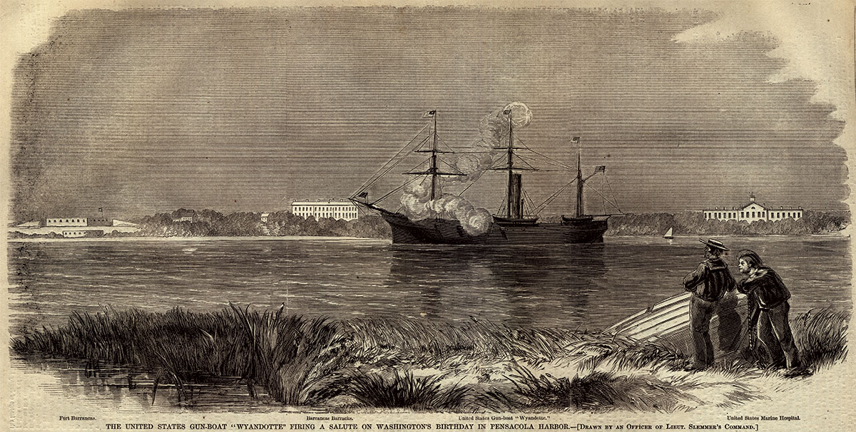 A Harper's Weekly artist at Pensacola captured the Wyandotte firing a salute on the occasion of George Washington's birthday, Feb. 22, 1861.