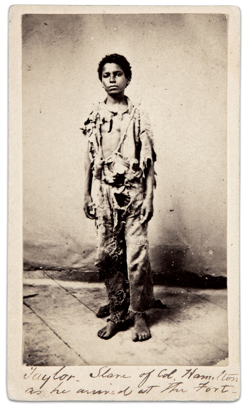 """This carte de visite in the Beinecke Library at Yale University includes a unique period ink inscription: """"Taylor — Slave of Col. Hamilton as he arrived at the Fort."""""""