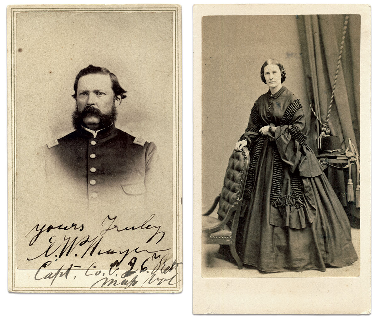 Cartes de visite of Enos by an anonymous photographer and Elizabeth by James Wallace Black of Boston Mass.