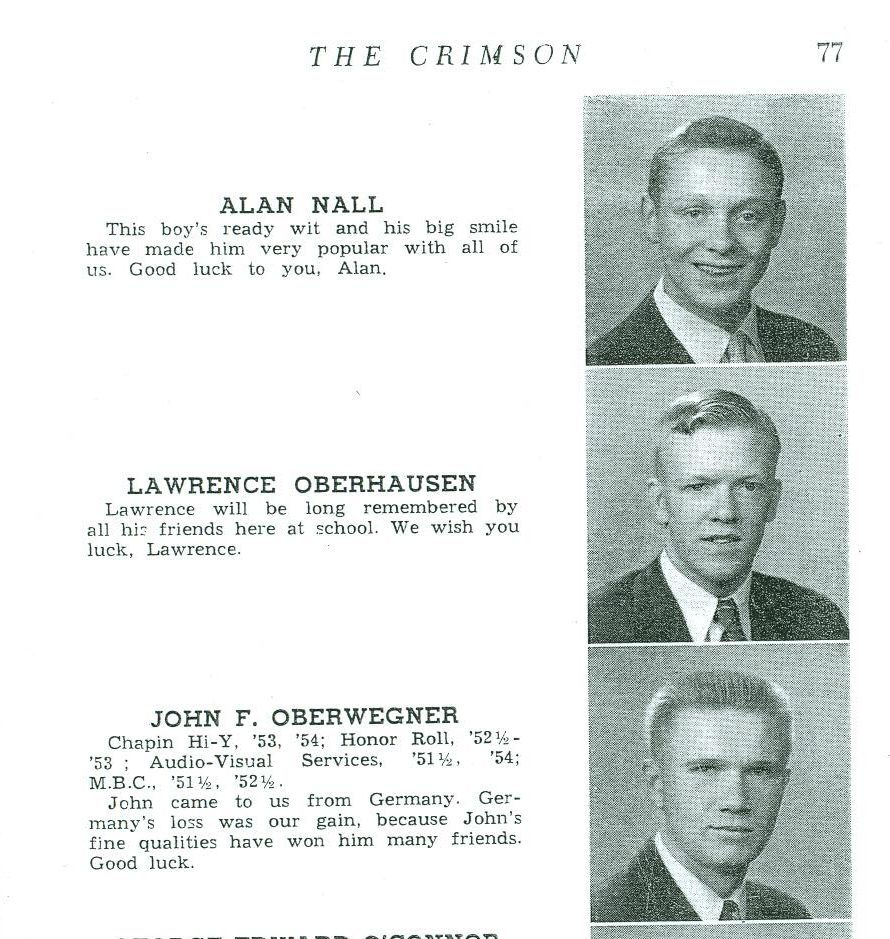 Bud (Lawrence) Oberhausen's 1954 senior yearbook picture [second person down].Bud (Lawrence) Oberhausen, a 1954 Manual alum, moved into the neighborhood behind Male High School in 1963.