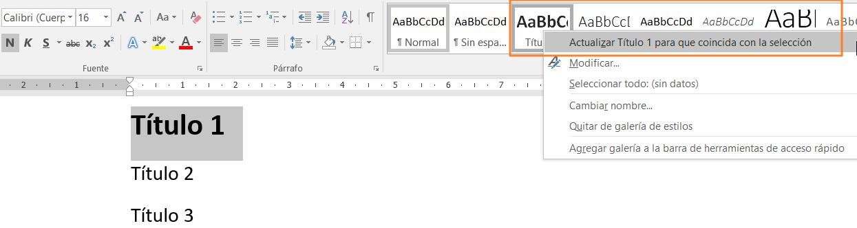Ilustración 17 - Títulos y formato del texto: aplicar estilos