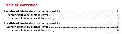 Ilustración 13 - Introducir tabla de contenido manual