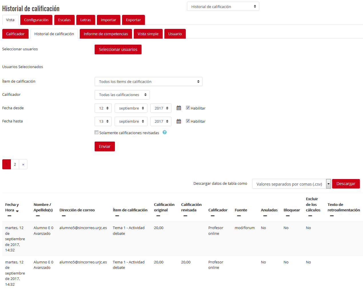 Tabla de calificaciones – Vista – Descarga historial de calificación