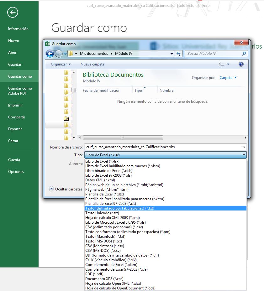Tabla de calificaciones – Guardar fichero Excel