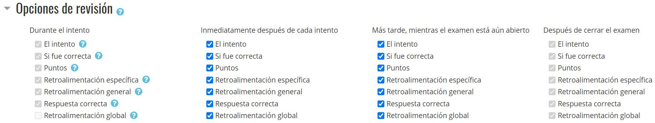 Configuración de examen: Opciones de revisión