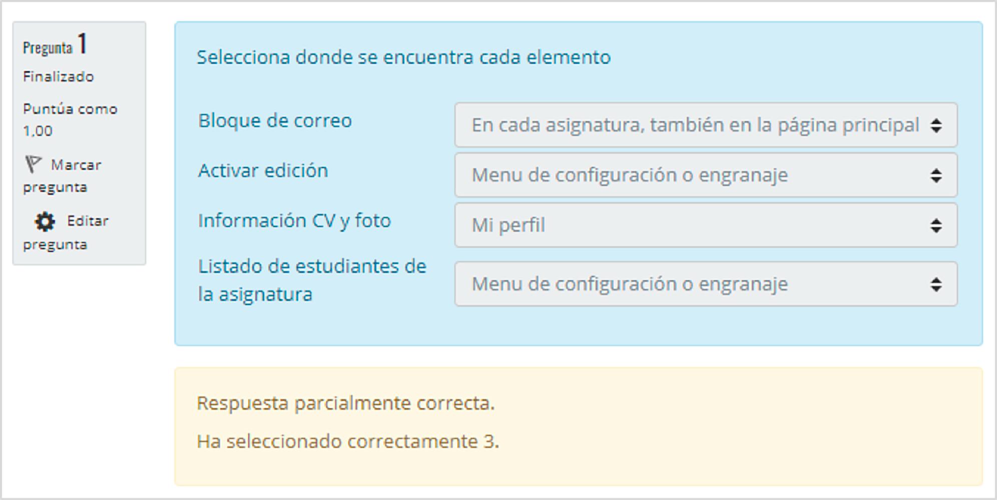 Retroalimentación durante el intento: Retroalimentación específica