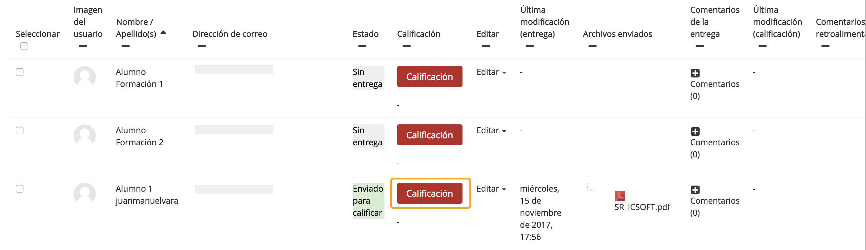 Acceso al panel de calificación con guía (o rúbrica) de evaluación desde el panel de entregas