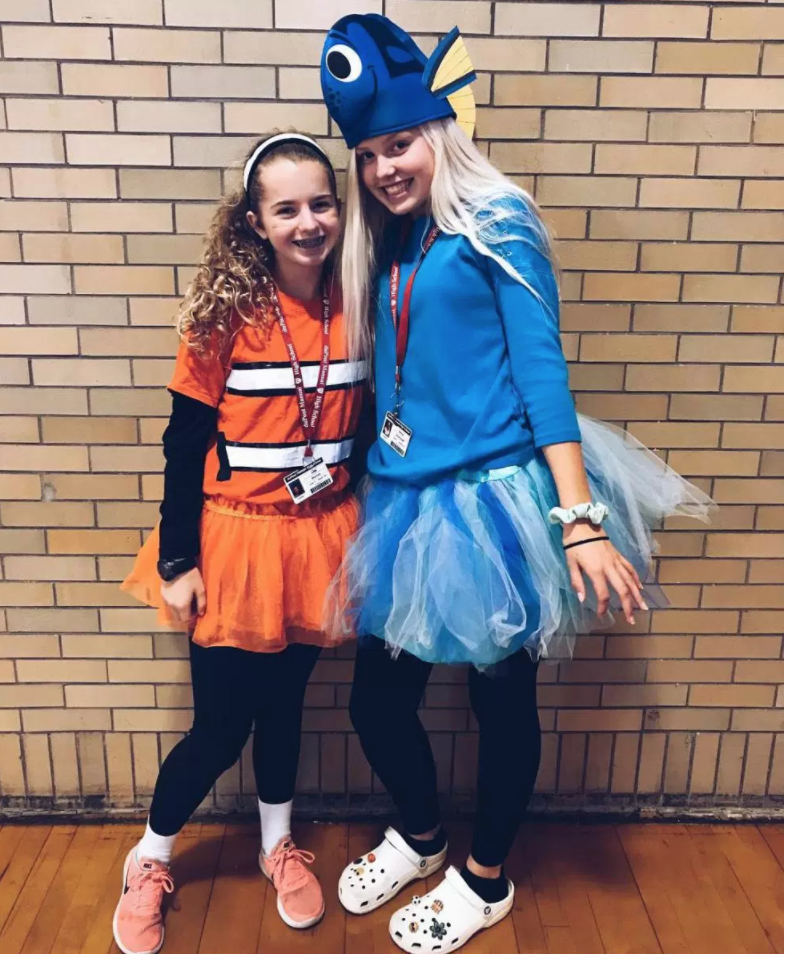 On costume day, Julia Werner (left) and Evelyn Overstreet (right) are dressed as Nemo and Dory from the movie franchise Finding Nemo. Photo by Madisyn Miller.