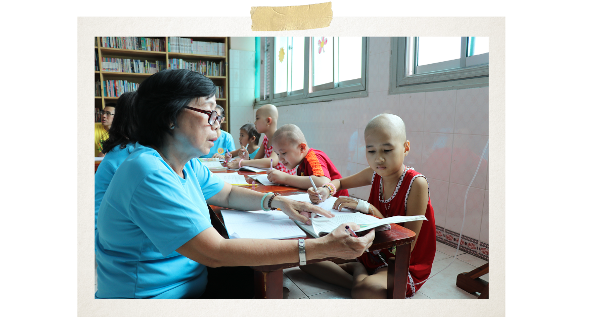 The classroom is opened for child cancer patients at 2pm every Friday and Sunday(Photo: VietnamPlus)