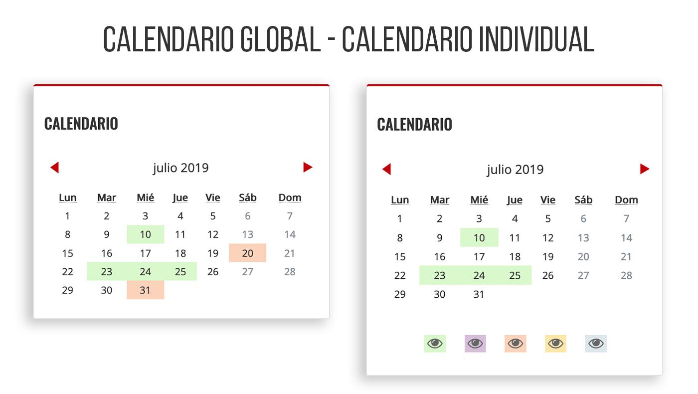 Calendario global y calendario individual