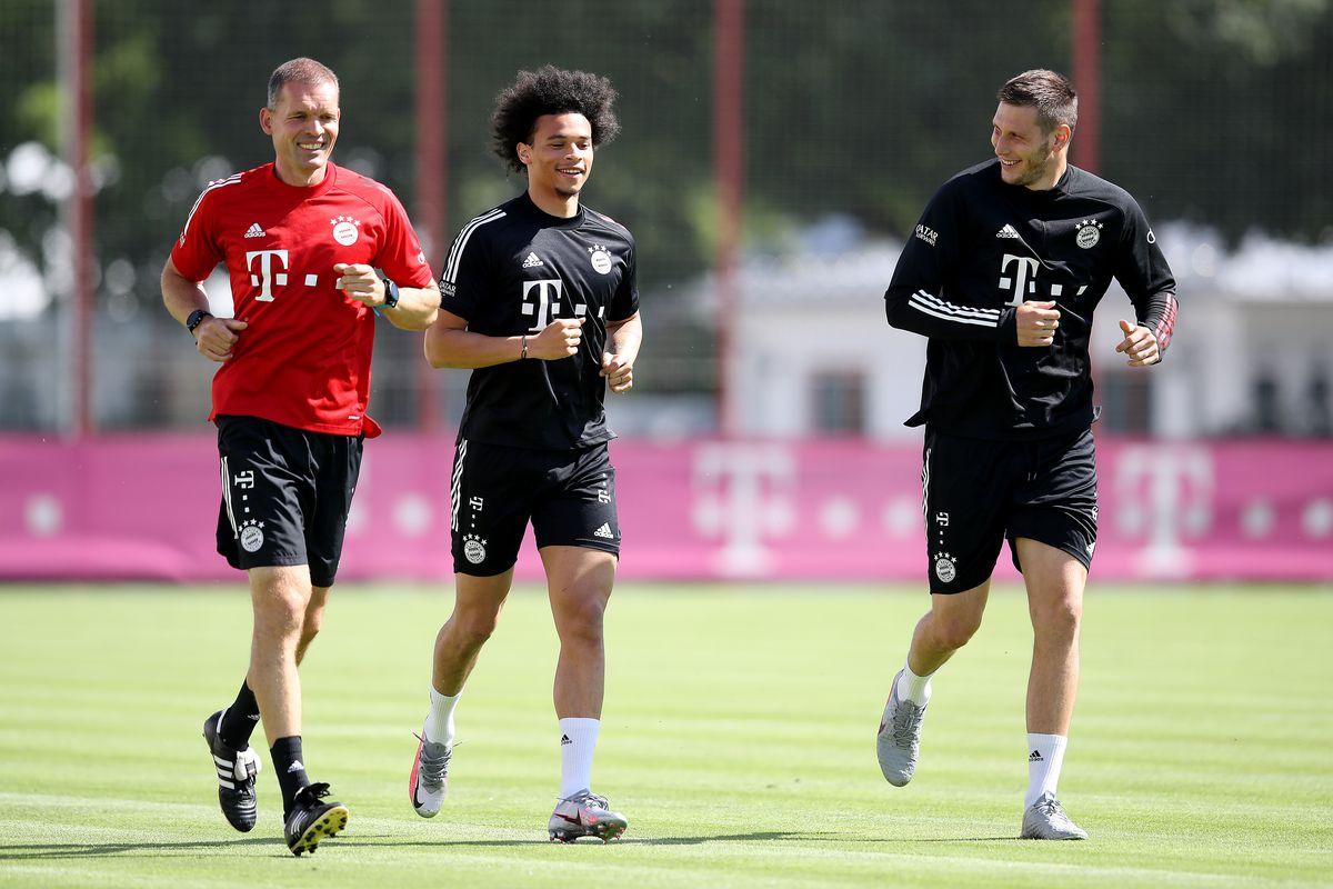 Sane trong buổi tập đầu tiên tại Bayern Munich. (Nguồn: FcBayern)
