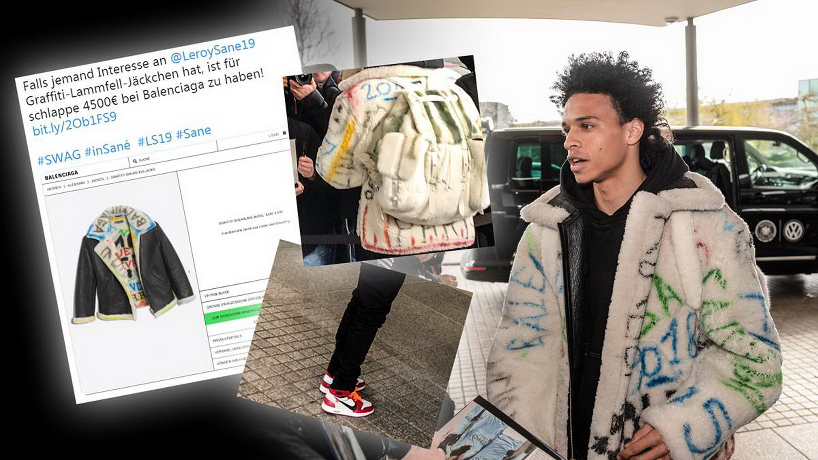 Áo  da lông cừu Balenciaga - Model 'Graffiti Sherling Jacket' giá 4.500 euro.Ba lô Louis-Vuitton Model  'Christopher Backpack GM' giá 18.000 euro - cho thấy độ sành điệu của Sane.