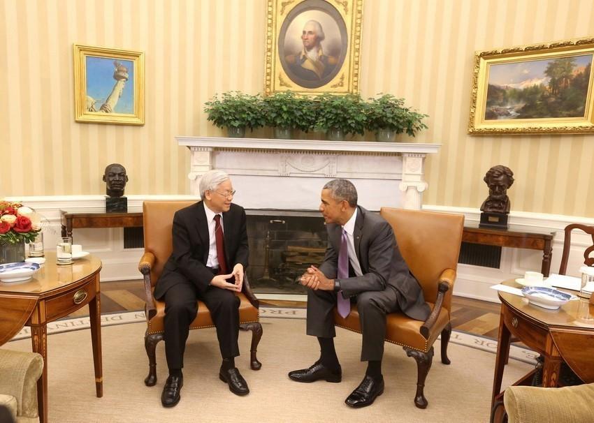 2015年7月7日,越共中央总书记阮富仲与时任美国总统奥巴马在美国白宫举行会谈。图自越通社