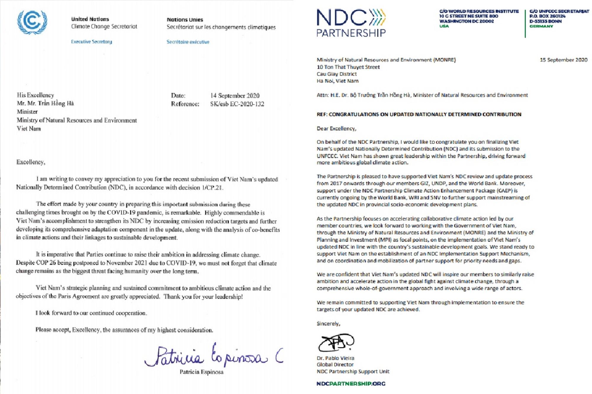 Письмо Патрисии Эспинозы, исполнительного секретаря РКИК ООН, и Пабло Виейры, директора организации Партнерства NDC, министру природных ресурсов и окружающей среды. (Источник: Департамент изменения климата)
