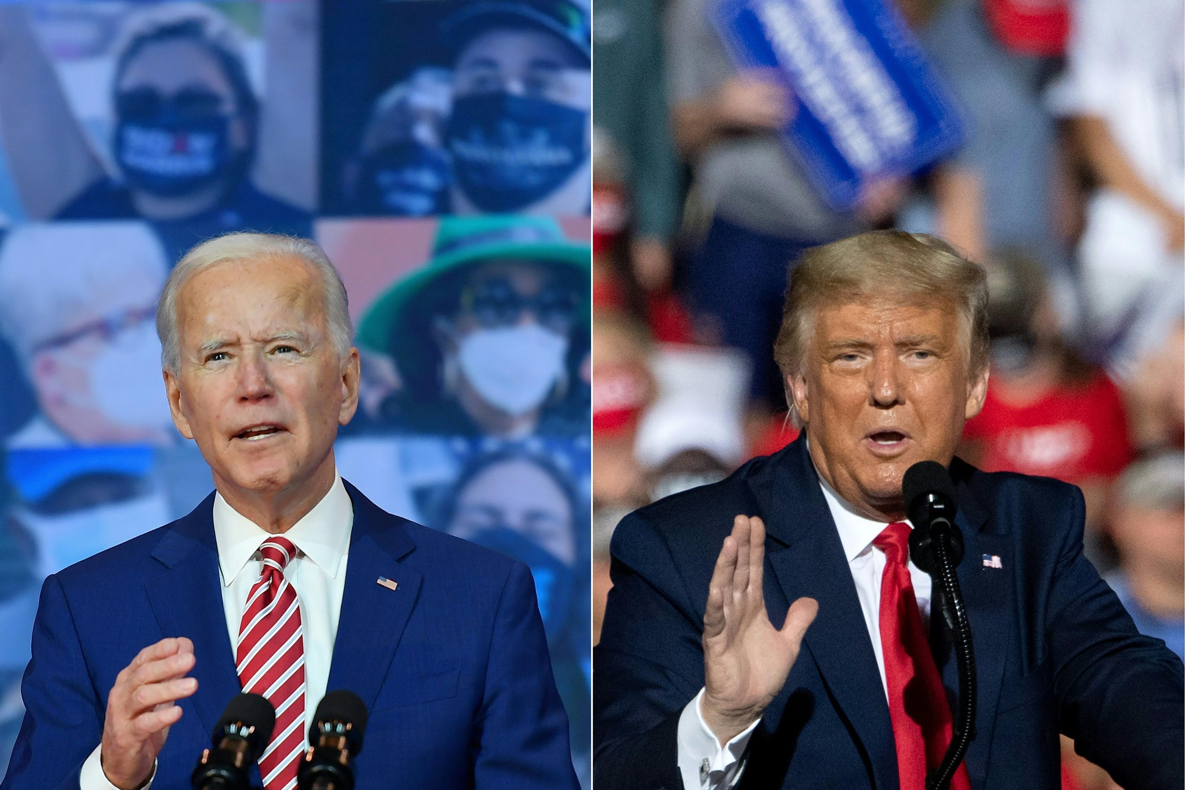 Đương kim Tổng thống Mỹ Donald Trump (phải) trong cuộc vận động tranh cử ở Gastonia, North Carolina ngày 21/10/2020 và ứng viên Tổng thống của Đảng Dân chủ Joe Biden phát biểu tại Wilmington, Delaware ngày 23/10/2020. (Nguồn: AFP/TTXVN)