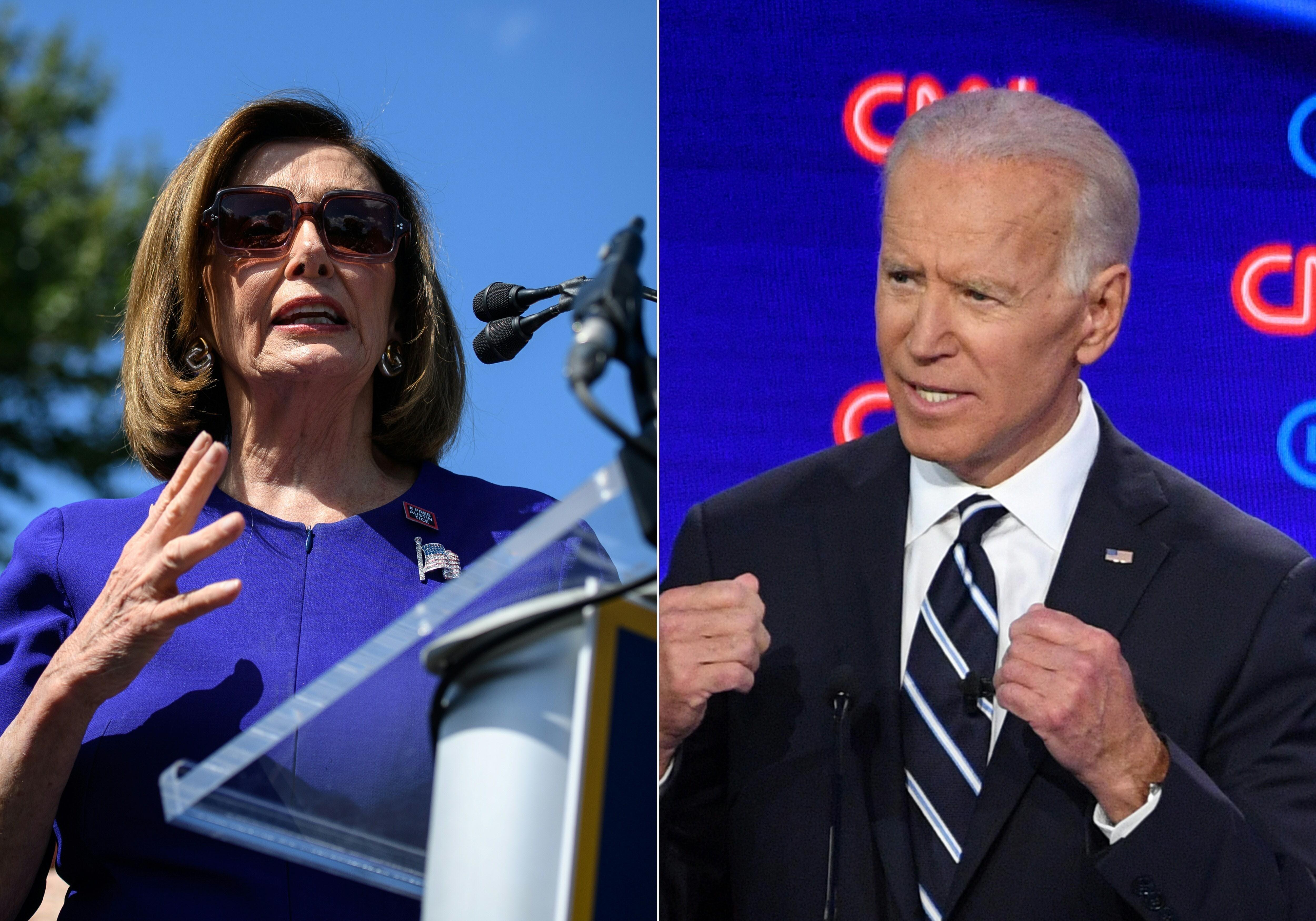 """Chủ tịch Hạ viện Mỹ Nancy Pelosi (ảnh trái) đã """"gửi lời chúc mừng tới ông Joe Biden về chiến thắng của ông ấy cho linh hồn của đất nước chúng ta. Chúc mừng bà Kamala Harris đã lập nên lịch sử. Đã tới lúc hàn gắn và tới lúc cùng nhau lớn mạnh."""" (Ảnh: TTXVN phát)"""