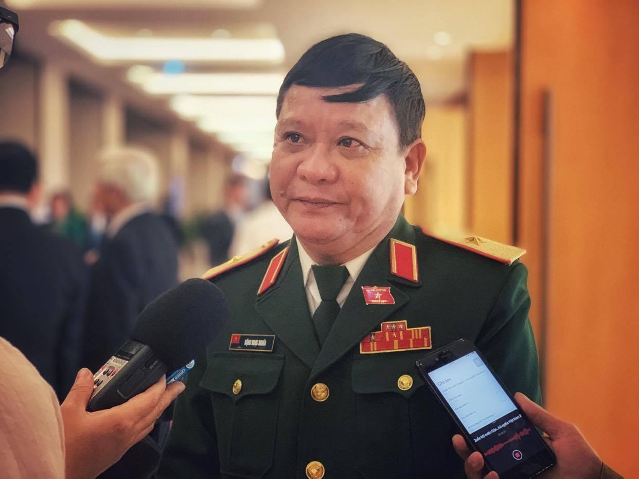 Thiếu tướng Đặng Ngọc Nghĩa, đoàn đại biểu Quốc hội Thừa Thiên Huế. (Ảnh: Xuân Mai/Vietnam+)