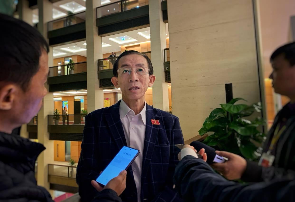 Đại biểu Trần Hoàng Ngân,Viện trưởng Viện Nghiên cứu Phát triển Thành phố Hồ Chí Minh bên hành lang nghị trường kỳ họp thứ 10, Quốc hội khóa XIV. (Ảnh: Xuân Mai/Vietnam+)